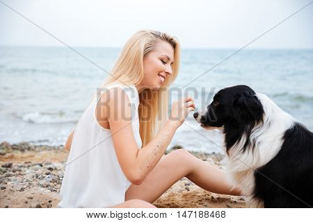 Cheerful pretty young woman smiling and playing with her dog on the beach