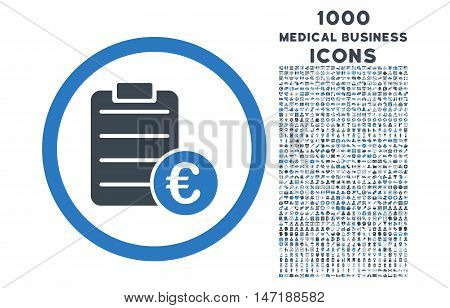 Euro Prices rounded vector bicolor icon with 1000 medical business icons. Set style is flat pictograms, smooth blue colors, white background.