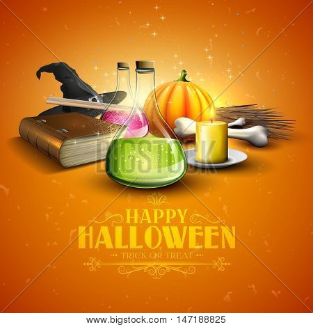 Halloween greeting card - Tubes with potions old book and pumpkins on orange background