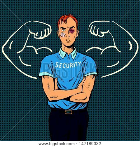 thin beaten the security guard dreams of power, pop art retro vector illustration. Security Agency