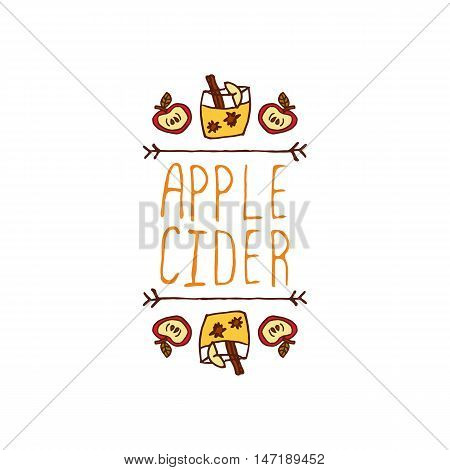 Hand-sketched typographic element with apple, apple cider and text on white background. Apple cider