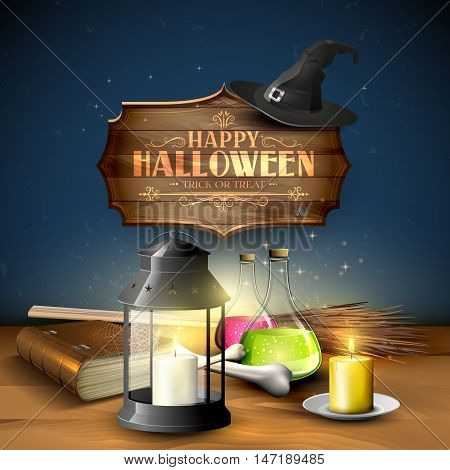 Halloween greeting card - Tubes with potions old book lantern and wooden sign on blue background