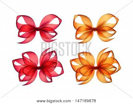 Vector Set of Colored Bright Orange Red Scarlet Transparent Gift Bows of Different Shapes Close up Isolated on White Background