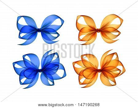 Vector Set of Colored Bright Orange Yellow Blue Transparent Gift Bows of Different Shapes Close up Isolated on White Background