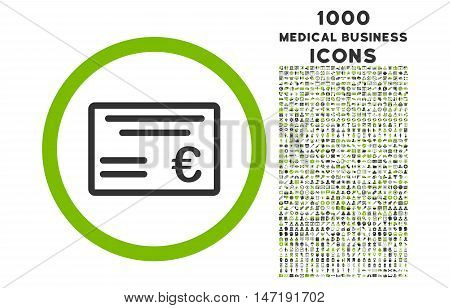 Euro Cheque rounded vector bicolor icon with 1000 medical business icons. Set style is flat pictograms, eco green and gray colors, white background.