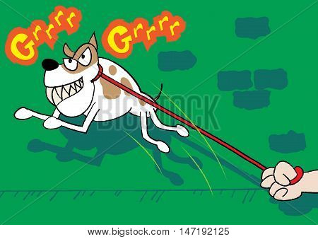 beware of the aggressive dog vector illustration