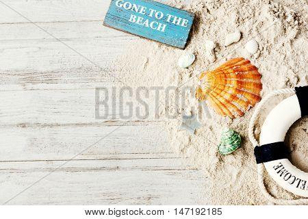 Wooden Board Beach Sand Concept