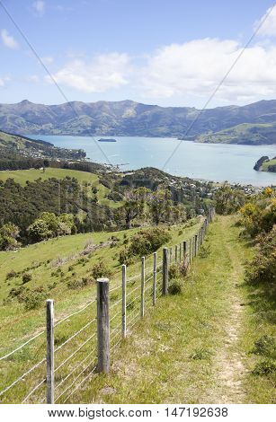 The path leading down to Akaroa resort town (New Zealand).