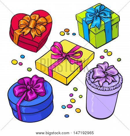 Set of colorful gift boxes with bows and ribbons, cartoon style vector illustration isolated on white background. Xmas, birthday, Valentine presents, gifts, surprises, decoration elements