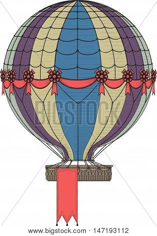 Vintage Hot Air Balloon. Hanging banner at the bottom of the basket can be easily removed, increase or decrease in the vector file.
