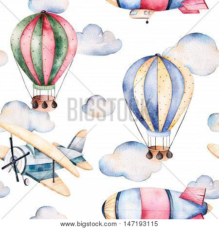 Seamless pattern with air balloons,airship,clouds and the plane in pastel colors.