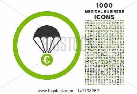 Euro Parachute rounded vector bicolor icon with 1000 medical business icons. Set style is flat pictograms, eco green and gray colors, white background.