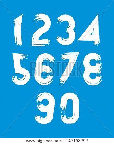 White vector stylish brush digits handwritten numerals sans serif numbers set on blue background.