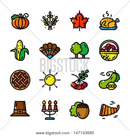 Thin line Thanksgiving Day icons set, Autumn Family Holiday outline logos vector illustration
