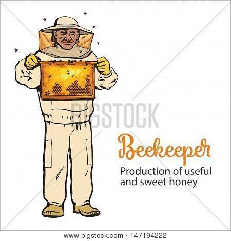 Beekeeper in protective gear holding honeycomb grid, sketch style illustration isolated on white background. Apiarist in protective suit working at the apiary