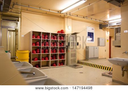 ZWENTENDORF, AUSTRIA - MAY 31, 2013: Helmets of the workers in the building of Zwentendorf Nuclear Power Plant on May 31, 2013 in Austria. The atomic power plant was built in 1976 with a hot water reactor