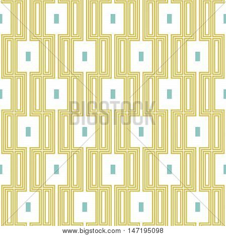 Geometric abstract background. Seamless modern pattern. Golden and white rectangular pattern