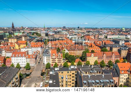 Panoramic view of Copenhagen the capital of Denmark