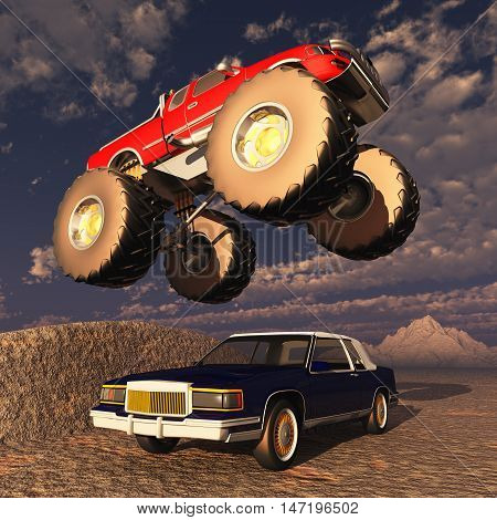 Computer generated 3D illustration with a monster truck flying over a car