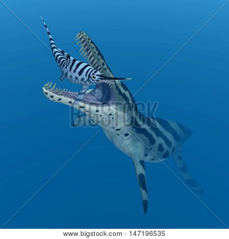 Computer generated 3D illustration with the extinct pliosaur Kronosaurus attacking the extinct ichthyosaur Eurhinosaurus