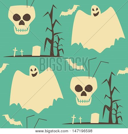 Hell Halloween party seamless pattern. Diabolical set of human skulls as goblets, evil ghosts, bats and lonely graves. Shabby retro colors. Vector illustration for various creative projects
