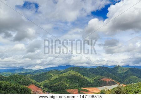 Mountain forests and cloud cover during the rainy season.