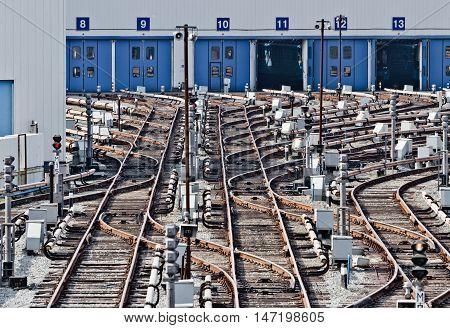 Rail tracks in subway depot. Kiev Ukraine. Kyiv Ukraine