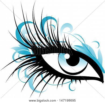 Beautiful female eye with long eyelashes and blue makeup