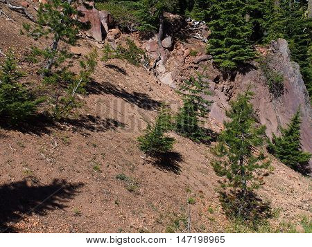 Red boulders on the of a tree covered hill in Crater Lake National Park in Southern Oregon.