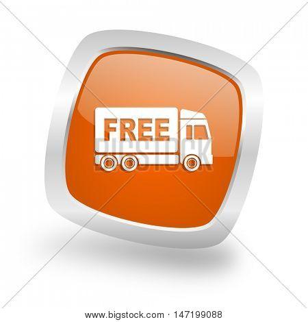 free delivery square glossy orange chrome silver metallic web icon