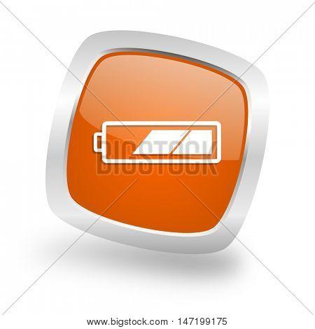 battery square glossy orange chrome silver metallic web icon