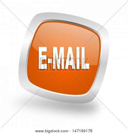 email square glossy orange chrome silver metallic web icon