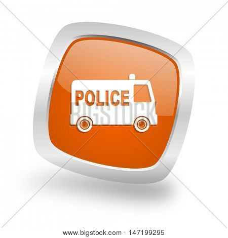 police square glossy orange chrome silver metallic web icon
