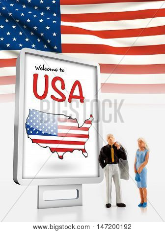 Miniature people in front a board with a map and flag from United States