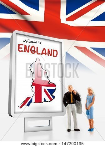 Miniature people in front a board with a map and flag from England