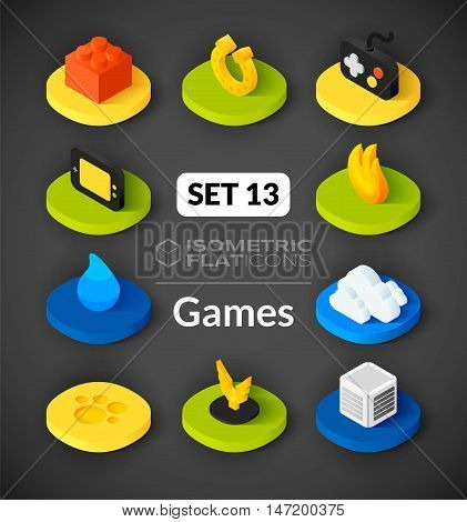 Isometric flat icons, 3D pictograms vector set 13 - Games symbol collection
