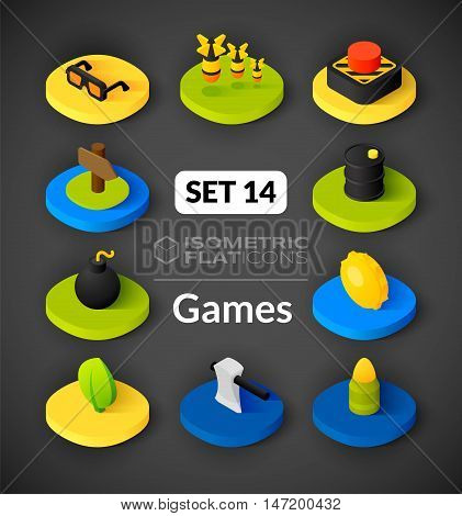 Isometric flat icons, 3D pictograms vector set 14 - Games symbol collection