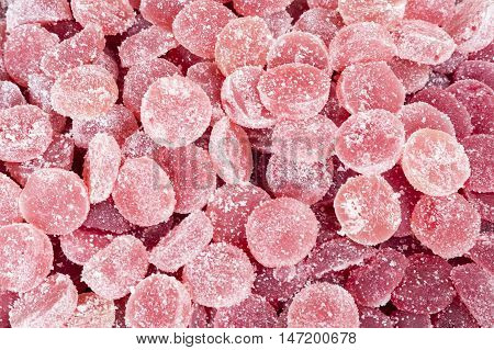 Group of gummy round of color pink
