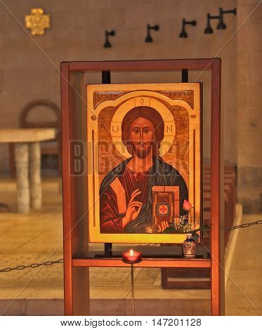 SEA OF GALILEE, ISRAEL - JANUARY 21: Beautiful old icon of Jesus Christ.  Interior of ancient church