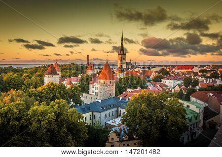 Sunset in the old city of Tallin Estonia