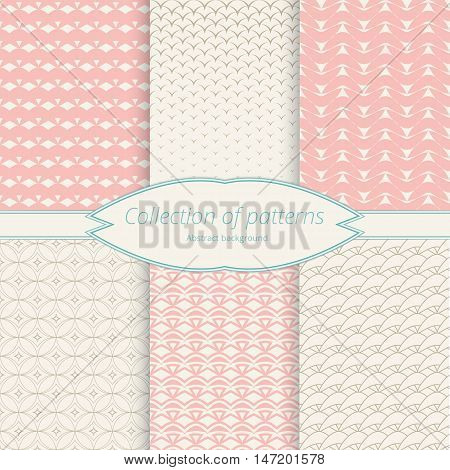 Monochrome pastel backdrop. Set openwork backgrounds for design. Simple graphic pattern. Vector illustration.
