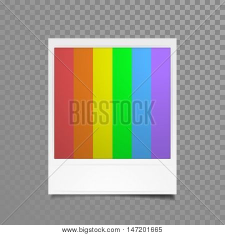 Instant photo frame with rainbow stroke picture. Vector photograph isolated on transparent background