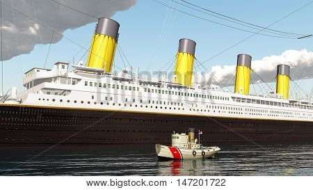 Computer generated 3D illustration with ocean liner and coast guard tug