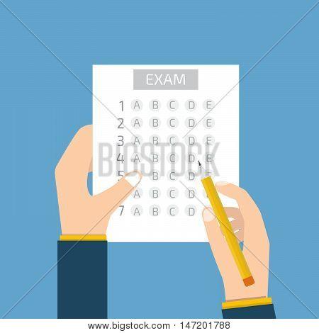 Test answer sheet concept. Stock vector. Vector illustration.