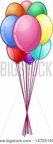 Vector illustration of colorful balloons on strings.