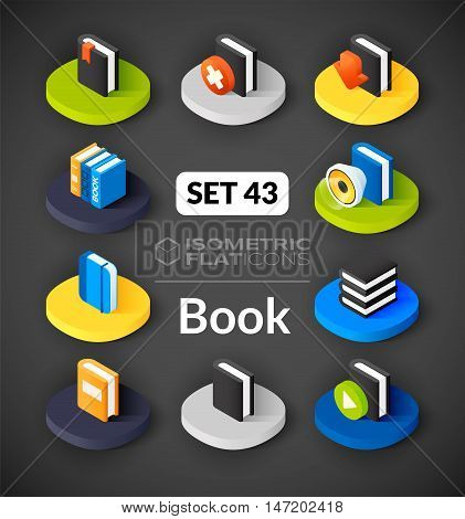 Isometric flat icons, 3D pictograms vector set 43 - Book symbol collection