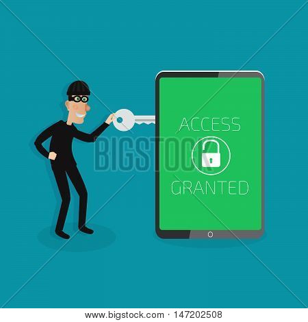 Protection Against Hacker Concept. Vector Illustration