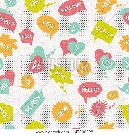 Speech bubble backdrop. Drawing wallpaper. Sketch art. Comic background. Vintage print. Grunge ornament. Graphic pattern. Dialog decoration. Speak illustration. Retro design. Vector.