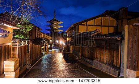 Yasaka Pagoda At Dusk In Kyoto