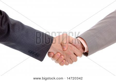 Business men hand shake isolated on white background